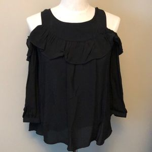 🖤Anthropologie Maeve black top, open shoulder